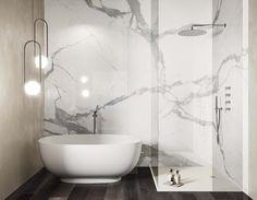 Calacatta Extra | RAK Ceramics Luxury Interior, Interior Design, Business Place, Phone Wallpaper Design, Marble Effect, Calacatta, Outdoor Flooring, Clawfoot Bathtub, Architecture