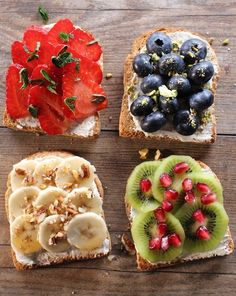 Toasts petit dej' aux fruits Whole and healthy toast for a balanced breakfast. Dog Recipes, Fruit Recipes, Easy Healthy Recipes, Healthy Cooking, Vegan Recipes, Easy Meals, Breakfast Sandwich Recipes, Breakfast Toast, Vegan Breakfast