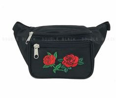 Red Rose Fanny Pack Waist Belt Bag Sports Utility Travel Pouch Rave Party Black
