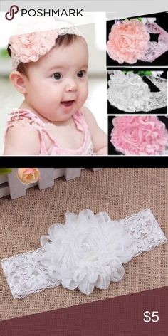 NWOT Lace Flower Infant Headband Available in sparkly peach or sparkly white. OS Infant Headband, stretchy soft lace. Fits about 3mos-12mos Accessories Hair Accessories