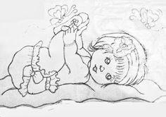 desenho menina bebe deitada com borboletas para pintar em fraldas