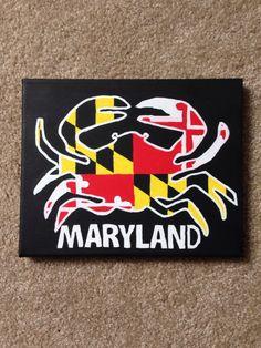 Maryland Crab + Flag Pattern Canvas; Acrylic on Etsy, $45.00