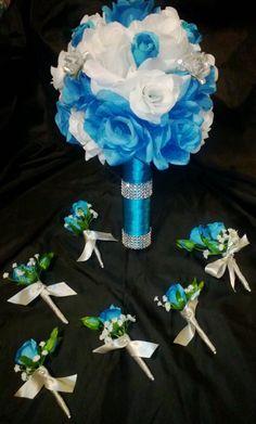 Turquoise White Bouquet Malibu Blue Bouquet by SilkFlowersByJean, $75.00