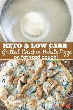 A super delicious recipe for pizza that you can enjoy while on keto and low carb diets! This recipe is also gluten free. Grilled chicken , spinach, white sauce and a pizza crust that will trick you into thinking it is the real thing. White Pizza Recipes, White Sauce Recipes, Keto Recipes, Cooking Recipes, Healthy Recipes, Keto Desserts, Keto Snacks, Healthy Food, Healthy Eating