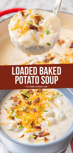 Loaded Baked Potato Soup Loaded Baked Potato Soup is the ultimate comfort food! This creamy, rich soup takes just 40 minutes and is topped with your favorite baked potato fixings! Sopa Crock Pot, Loaded Baked Potatoes, Best Loaded Baked Potato Soup Recipe, Easy Creamy Potato Soup, Best Baked Potato Soup Recipe, Panera Baked Potato Soup, Potato Soup Recipes, Ultimate Potato Soup Recipe, Mashed Potato Soup