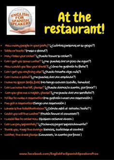 At the restaurant Spanish Notes, Spanish Phrases, Spanish Grammar, Spanish Vocabulary, Spanish English, English Phrases, Spanish Language Learning, English Writing, Spanish Lessons