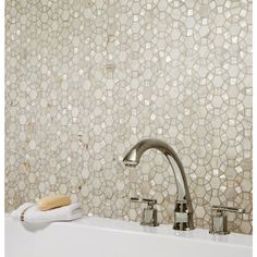 Carrara Circulos Water Jet Cut Mother of Pearl Marble Mosaic - 12in. x 12in. - 100248517 | Floor and Decor
