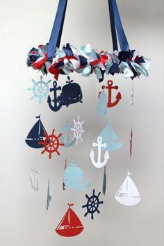 Nautical Nursery Mobile in Red Navy Baby Blue por LoveBugLullabies