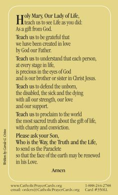 The Our Lady of Life Prayer