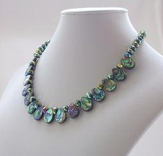 Shell Necklace, Abalone Necklace, Beaded Necklace, Fashion Jewelry, Jewellery, Resort Wear, Green, Blue, Crystal Jewelry