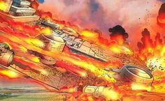 The SHIELD Helicarrier going down in flames.