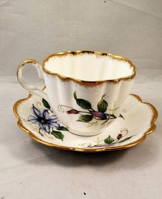 English Bone China Tea Cup/Saucer Purple Floral Transfer