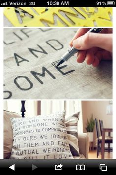 Pillows - Use stencil and fabric paint to make inspiring one-of-a-kind pillows