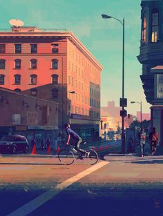 """NEW! my latest Graphic LA painting. i think i'll call this one """"SF in LA"""" because it reminds me of San Francisco but it's DTLA."""