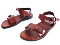 Brown Leather Sandals for Men KIBBUTS BIBLICAL by Sandalimshop