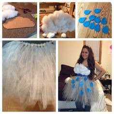 Halloween costume #rain #cloud I love the rain and came up with this idea of how I wanted it to be executed out  Start by making a tutu (you can find tutorials online as I did)   Next use cardboard to cut a cloud formation out and glue stuffing to it (I used a hot glue gun just to be safe) also I added little white crystal lik