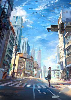 Anime scenery art, city, girl animeart-city аниме пейзажи, и