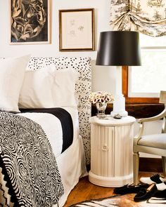 black + white chic in bedroom by eddie ross