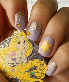 Tangled nail-art / Nail-art Raiponce sur http://glitterandnails.blogspot.fr/