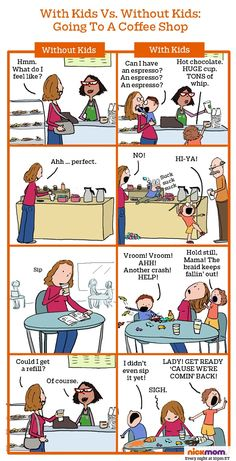 Without & with kids comic strip parenting & motherhood