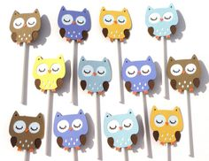 Items similar to 12 Owl Boy Themed Cupcake Toppers Birthday Party or Baby Shower - Woodland on Etsy Owl Party Decorations, Baby Shower Decorations For Boys, Themed Cupcakes, Baby Boy Shower, Cupcake Toppers, Party Time, First Birthdays, Kids, Kid Stuff
