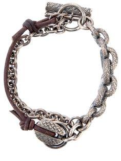 TOBIAS WISTISEN: Silver and leather chain bracelet