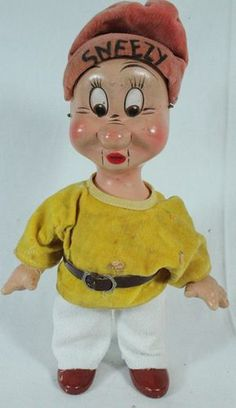 1930's Disney Knickerbocker Toy Co. Composition Doll Snow White Dwarfs Sneezy