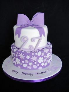 Purple birthday cake By ClareBear66 on CakeCentral.com