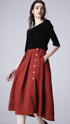 Wine red skirt casual linen skirt woman midi skirt by xiaolizi