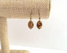 Czech glass earrings, oval bead glass bead jewelry. Antique brass earrings. Brown earrings. Simple earings. Tan crystal bead earings. Bronze by JJewelryDesign on Etsy