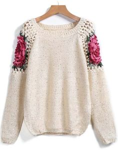 To find out about the Apricot Floral Crochet Hollow Loose Sweater at SHEIN, part of our latest Sweaters ready to shop online today! Cardigan Pattern, Crochet Cardigan, Knit Crochet, Knitting Patterns, Crochet Patterns, Loose Sweater, Crochet Fashion, Crochet Clothes, Pulls