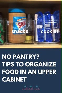 Don't have a big pantry? Learn how to maximize the space you have in your upper cabinets. Organize your small pantry with these tips!