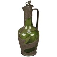 Art Nouveau Pewter and Green Glass Wine Jug by Orivit