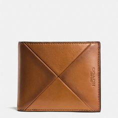 Coach Compact Id Wallet ($195) ❤ liked on Polyvore featuring men's fashion, men's bags, men's wallets, brown, mens leather wallet, mens brown leather wallet, mens front pocket wallet, coach mens wallet and mens leather front pocket wallet