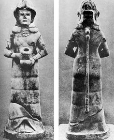 Ninkharsag (mama in Accadian) in the guise of the goddess of irrigation, found during excavations at Mari on the Upper Euphrates in Syria