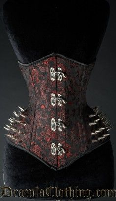 Red Brocade Spike Extreme Waist Corset