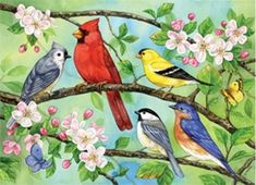 The joy of the chatter as the Bloomin' Birds sing the praises of the beautiful cherry blossoms in the spring! This fun Family Piece 350 puzzle is a cheerful scene to celebrate the season of flowers. Hummingbird Bird Bath, Church Backgrounds, Spring Birds, Wildlife Paintings, Bird Wallpaper, Spring Painting, Sunset Pictures, Paint Party, Flower Art