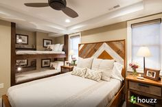 Guest Room Idea - Built-in Bunk Beds AND Bed  Rustic Bedroom by Catherine Renae Thomas Design Co.