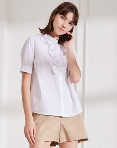White Square Neck Single Breasted Half Sleeve Women's Shirt