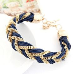 Mexican Dark Blue Metal And Rope Weave Design Alloy Korean Fashion #Bracelet  www.asujewelry.com