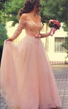 Princess Sweetheart Half Sleeve Tulle Prom Dress With Pearls and Appliques Floor Length_Prom Dresses_Special Occasion Dresses_Buy High Quality Dresses from Dress Factory Prom Dresses With Sleeves, Tulle Prom Dress, Homecoming Dresses, Sweetheart Prom Dress, Sleeve Dresses, Prom Party Dresses, Dress Lace, Dance Dresses, Bridal Dresses
