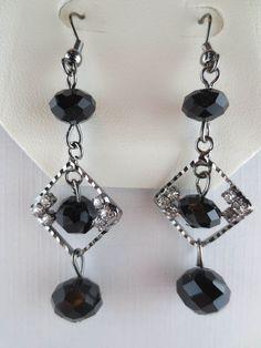 MACY'S Dangling Crystal Rhinestone Black Glass Bead Earrings NEW in Jewelry Box