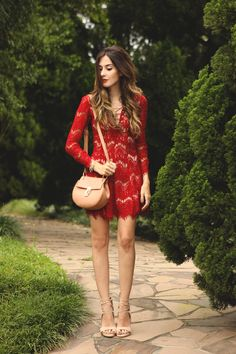 Red lace and nude accessories