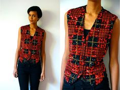 Vtg Sequined Plaid Red Black Gold Button Down Vest by LuluTresors, $27.99