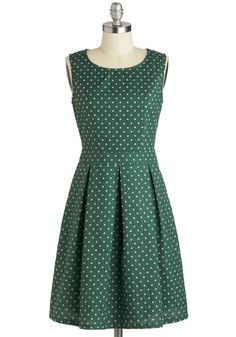 Emerald Chic Dress - Mid-length, Cotton, Green, Tan / Cream, Polka Dots, Pleats, Pockets, A-line, Sleeveless, Scoop, Work, Daytime Party, Vintage Inspired, 50s, 60s