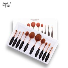 5 /10 PCS Per Set Tooth Brush Shape Oval Makeup Brush Set MULTIPURPOSE Makeup Brushes Professional Foundation Powder Brush Kits >>> Click image to review more details.