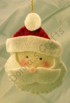Felt Santa Felt Santa Ornament Santa by DonnaJohnsonCrafts on Etsy Hanukkah Decorations, Christmas Gift Decorations, Halloween Decorations, Etsy Christmas, Christmas Gifts For Her, Christmas Items, White Ornaments, Santa Ornaments, Etsy Handmade