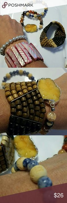 Bracelets! Popesco bracelet, etc Beautiful assortment of fashion bracelets. Collected from my travels. Turquoise Catherine Popesco Paris . All in perfect condition. Good as new.  Wood bead is from Africa. Blue/cream is from Tibet. Amber from Baltic. I am throwing in a couple of misc pearl ones. Catherine Popesco Jewelry Bracelets