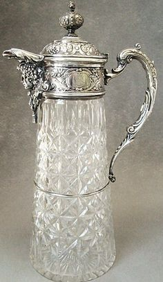 Antique Wilkens & Sohne Bremen 800 Silver & Cut Glass Claret Jug  c. 1890