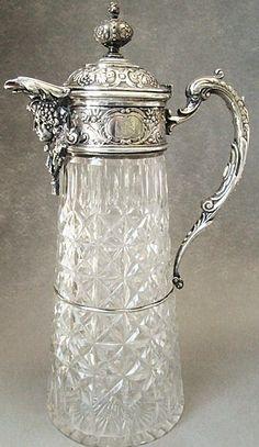Antique Wilkens  Sohne Bremen 800 Silver  Cut Glass Claret Jug  c. 1890